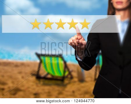 Five Star Rating - Businesswoman Hand Pressing Button On Touch Screen Interface.