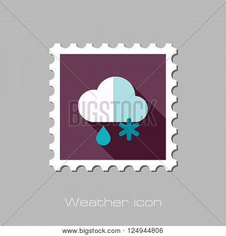 Cloud with Snow and Rain flat stamp. Meteorology. Weather. Vector illustration eps 10