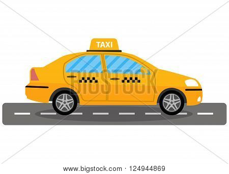 Yellow taxi car on road, taxi icon, call taxi concept, vector illustration in simple flat design isolated on white background