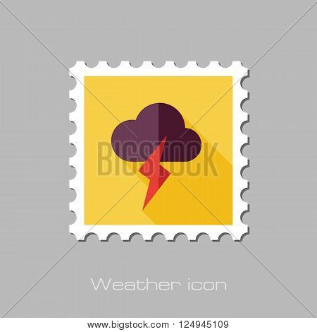 Cloud Lightning flat stamp. Meteorology. Weather. Vector illustration eps 10