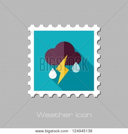 Cloud Rain Lightning flat stamp. Meteorology. Weather. Vector illustration eps 10