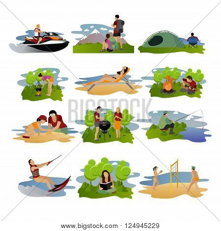 Vector set of summer recreation concept design elements. Cartoon labels. Beach sport, fishing, active rest and camping flat icons isolated on white background.