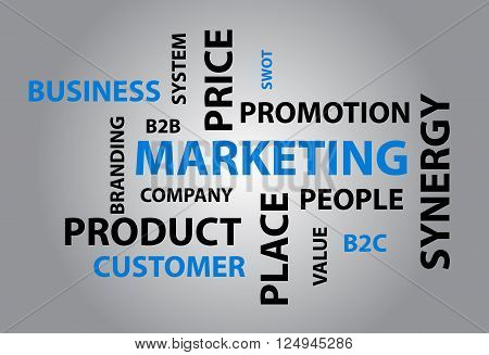 Abstract and modern background with different marketing words