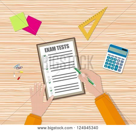 Student hand fills examination quiz paper with green pen, School exam test results. wooden school desk with pins, calculator. vector illustration in flat design.