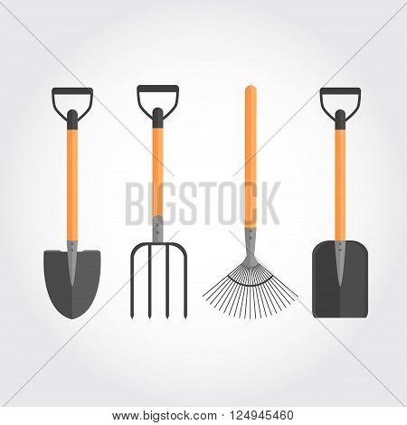 Set of garden tools. Vector illustration. Flat design. Shovels, pitchfork, rake