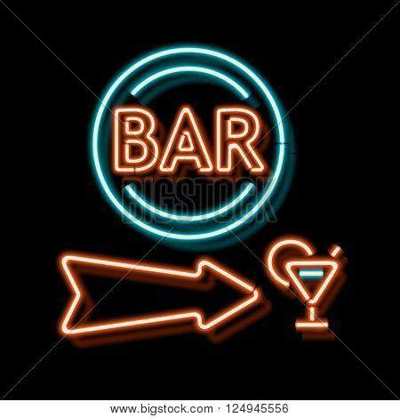 Retro neon sign with the word bar. Vintage electric arrow symbol. Burning a pointer to a black wall in a club, bar or cafe.