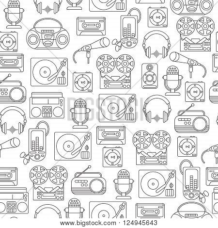 Music and audio icons in a linear style seamless pattern with symbols of retro tape cassette boombox turntable records.