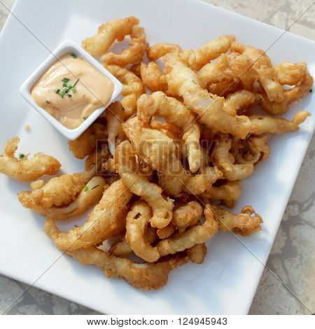 Tempura baby clams with spicy chipotle mayonnaise