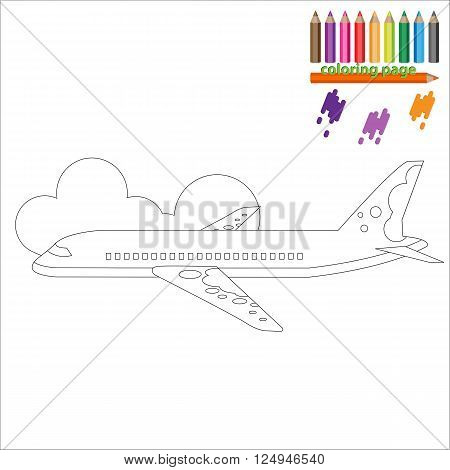 Coloring page with airplane, business jet. Painting for kids