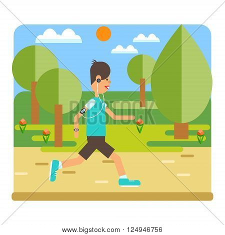 Vector flat design on fitness workout running man in summer clothing. Sport friendly smiling male character running with player on the park road.