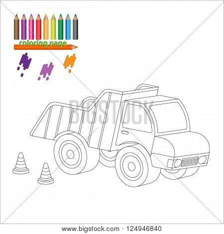 Coloring page with big truck, lorry, dumper. Painting for kids