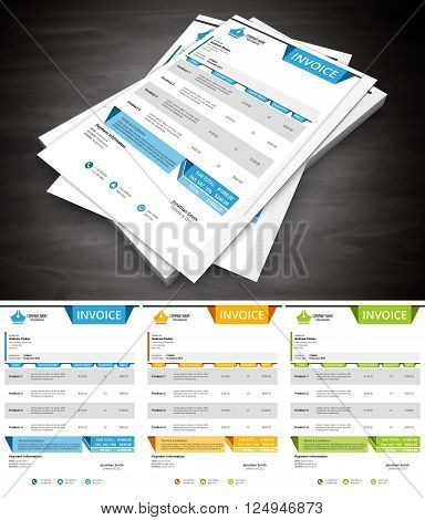 Vector illustration of creative invoice in 3 colors.