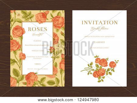 Floral vector vertical vintage invitation. Set. Coral Garden Roses.