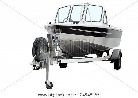 Modern motor boat on the trailer for transportation.