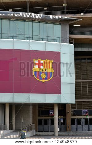 CAMP NOU BARCELONA SPAIN -MAY 4 2015 Outside the Camp Nou in Barcelona before an important match of the FC Barcelona
