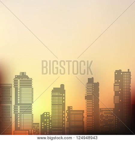 Landscape urban silhouette on a colorful background of sunset and sunrise