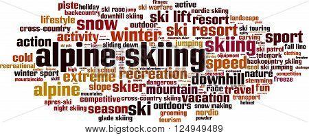 Alpine skiing word cloud concept. Vector illustration