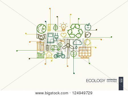 Ecology integrated thin line symbols. Modern linear style vector concept, with connected flat design icons. Illustration for eco friendly, energy, environment, green, recycle, bio and global concepts.