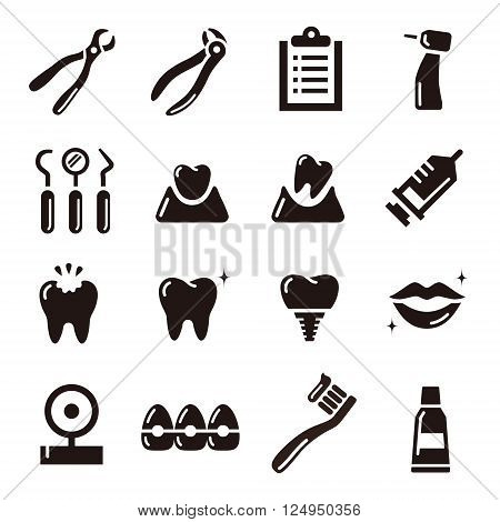 black and white simple dental icon set