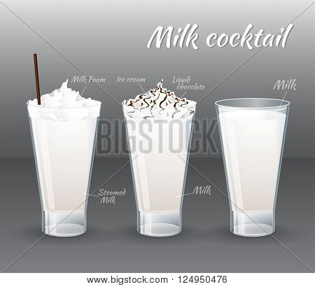 Set of vector summer cocktails. Milk and milkshake in a glass isolated on grey background. Vector illustration realistic style