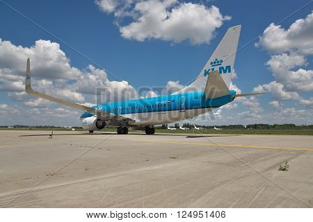 Borispol Ukraine - July 5 2014: KLM Boeing 737 taxiing to the terminal after landing at the aiport
