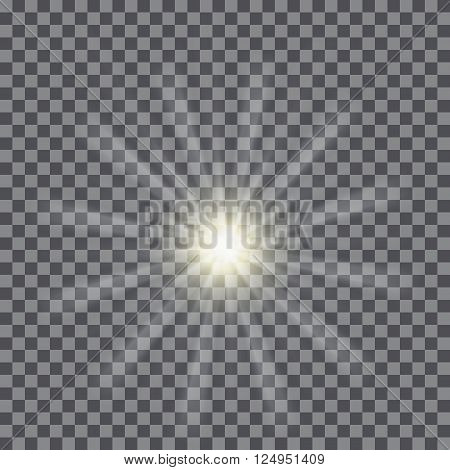 Vector glowing light bursts with sparkles on transparent background.  Vector illustration for your design and business. Sunburst rays of light.