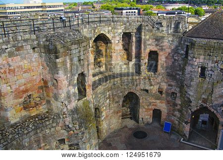 Inner walls of Clifford Tower in York in England. Clifford Tower is a remaining part of York Castle. The York City is situated in North Yorkshire in England.