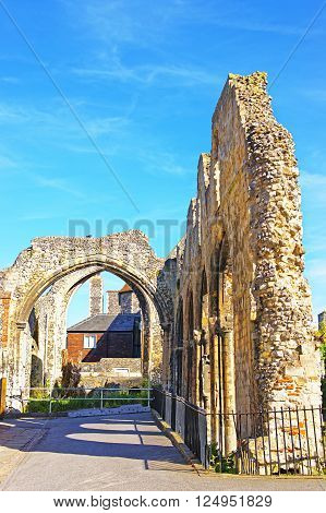 Ruins next to Canterbury Cathedral in Canterbury in Kent of England. It is one of the most famous cathedrals in England. It is the Archbishop of Canterbury Cathedral.
