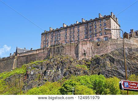 View to Edinburgh Castle in Edinburgh in Scotland. Edinburgh is the capital of Scotland in the United Kingdom.