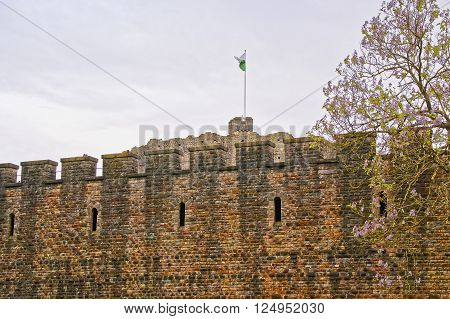 Walls of Cardiff Castle in Cardiff in Wales of the United Kingdom. Cardiff is the capital of Wales.