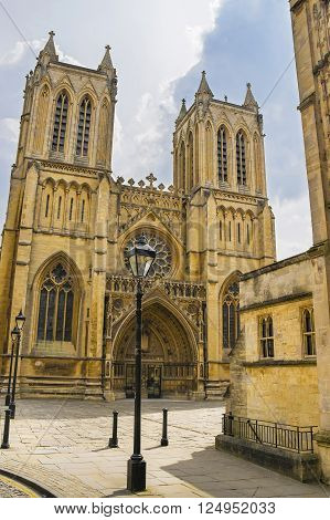 West front of Bristol Cathedral in Bristol in South West of England. It is fully called as Cathedral Church of the Holy and Undivided Trinity. It was founded in the 12th century.