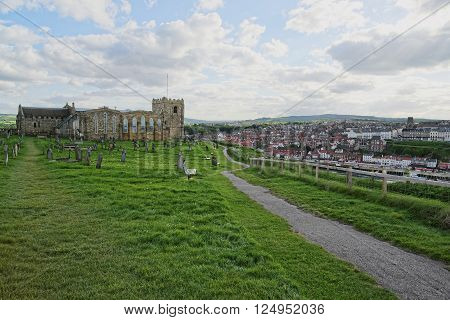 Whitby Abbey Church and Cemetery in North Yorkshire in England. It is ruins of the Benedictine abbey. Now it is under protection of the English Heritage.