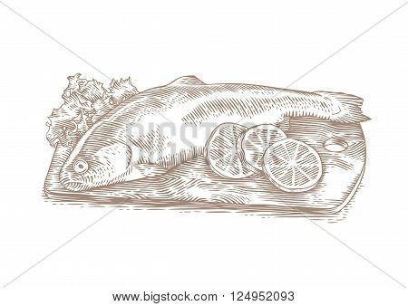 Drawing of trout with fresh lemon pieces and green leaves of lettuce on the wooden board