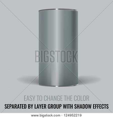 Blank Tincan packaging. Vector Mock up design for gift box, tea, coffee, dry products. Separated by layer group with transparency and shadow effects. Easy to change the color.