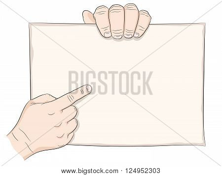 Two man hand and paper page hand pointing and hand hold. Line drawing black.
