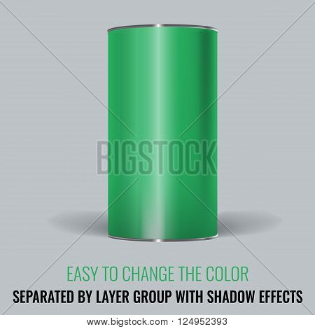 Green Blank Tincan packaging. Vector Mock up design for gift box, tea, coffee, dry products. Separated by layer group with transparency and shadow effects. Easy to change the color.
