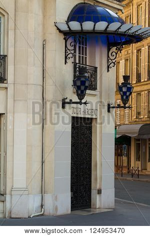 Paris France-April 4 2016:The famous restaurant Tour d'Argent located 15quay de la Tournelle in Paris.It is world famous for its cuisine and vast wine cellar currently holding some 400000 bottles.