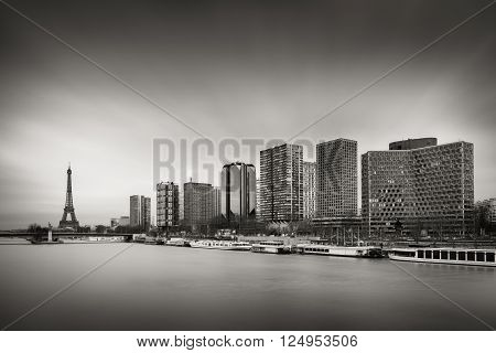 Black & White skyline with high-rise Left Bank buildings in the 15th Arrondissement with the Eiffel Tower ,Seine River and Pont de Grenelle, Paris, France