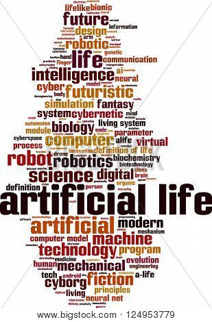 Artificial life word cloud concept. Vector illustration