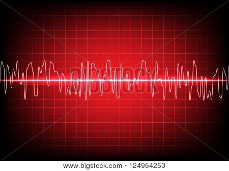 abstract waves oscillating on red background. illustration Vector.