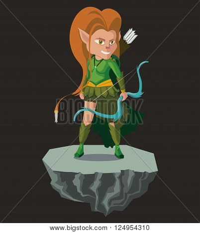 Archer elf. Fantasy vector isolated character.editable vector Elf .2d Game Characte