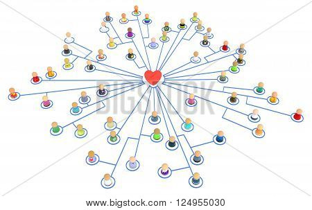 Crowd of small symbolic figures linked by lines isolated over white 3d illustration