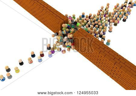 Crowd of small symbolic figures with walls over white 3d illustration