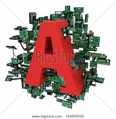 Big alphabet letter with electronic circuit elements isolated 3d illustration