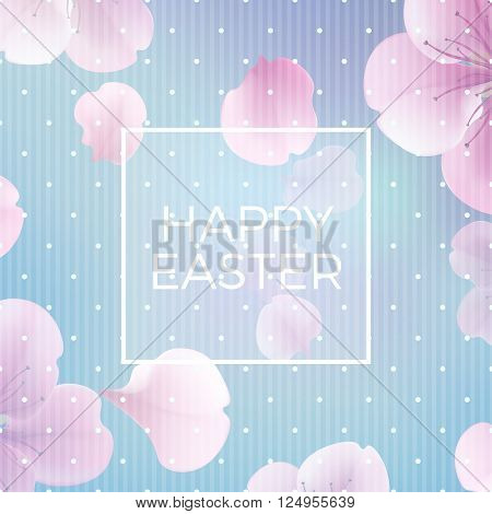 easter christian floral background with text Happy Easter vector illustration eps 10 with transparency and gradient meshModern style vector soft spring illustration background