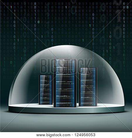 Network servers under a glass dome. Security database from hacker attacks. Stock vector illustration.