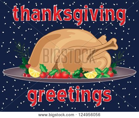 an illustration of a thanksgiving greeting card with roast turkey meal and trimmings on a snowy background