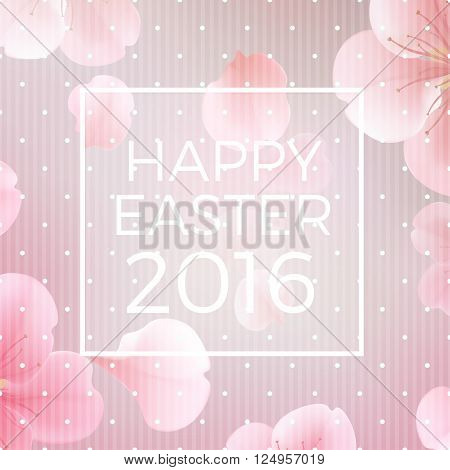 easter christian floral background with text Happy Easter 2016 vector illustration. Modern style vector soft spring illustration background