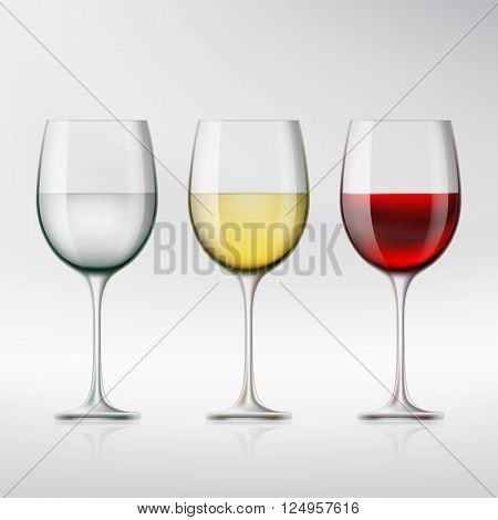 Set of glasses with red and white wine and water. Stock vector illustration.