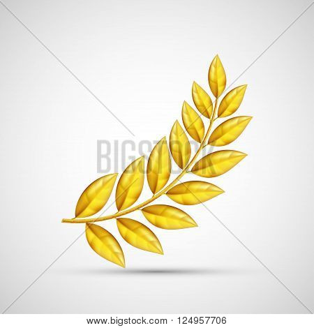 Icon gold olive branch. Symbol of victory and reward. Stock vector illustration.